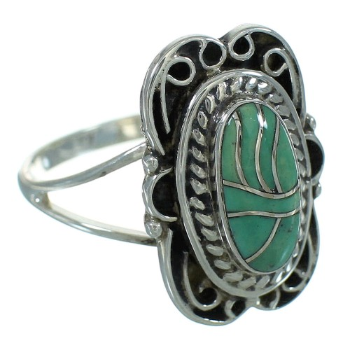 Southwestern Silver And Turquoise Inlay Jewelry Ring Size 7-1/2 YX69683