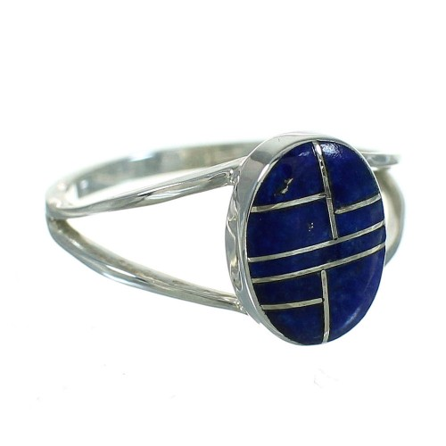 Southwest Lapis Sterling Silver Jewelry Ring Size 8-1/4 AX74004