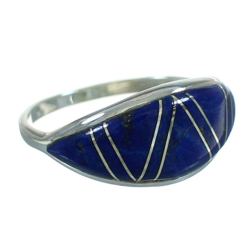 Lapis Genuine Sterling Silver Southwestern Ring Size 8-1/4 AX74020