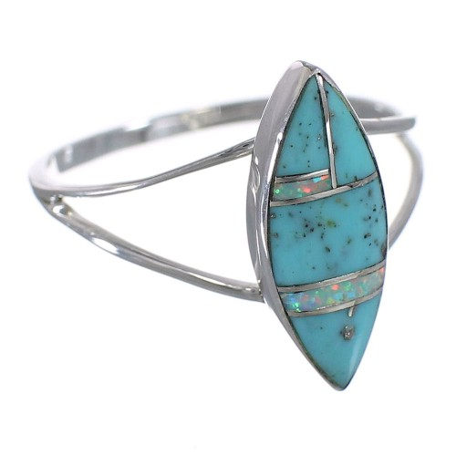 Southwest Turquoise Opal Silver Ring Size 4-3/4 YX83006