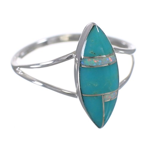 Southwestern Turquoise Opal And Silver Ring Size 6-3/4 YX83054