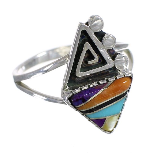 Sterling Silver Multicolor Water Wave Southwest Ring Size 7-1/2 WX74967