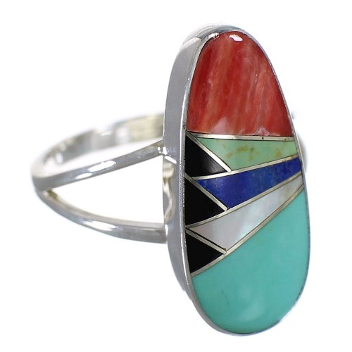Southwestern Multicolor Inlay And Sterling Silver Ring Size 7-1/4 WX75097