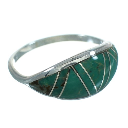 Southwest Turquoise Inlay Silver Ring Size 4-3/4 AX80762