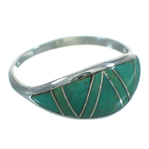 Turquoise Southwest Silver Jewelry Ring Size 6-3/4 AX80805