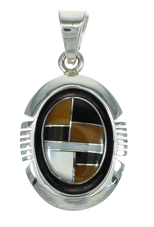 Genuine Sterling Silver Multicolor Inlay Southwest Pendant YX67457