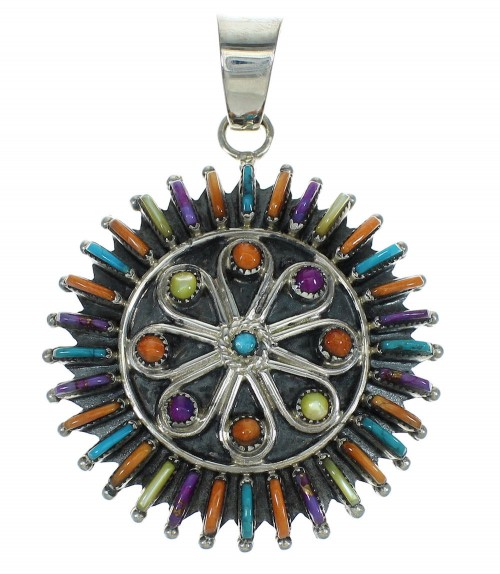Multicolor And Genuine Sterling Silver Needlepoint Southwestern Pendant YX67479