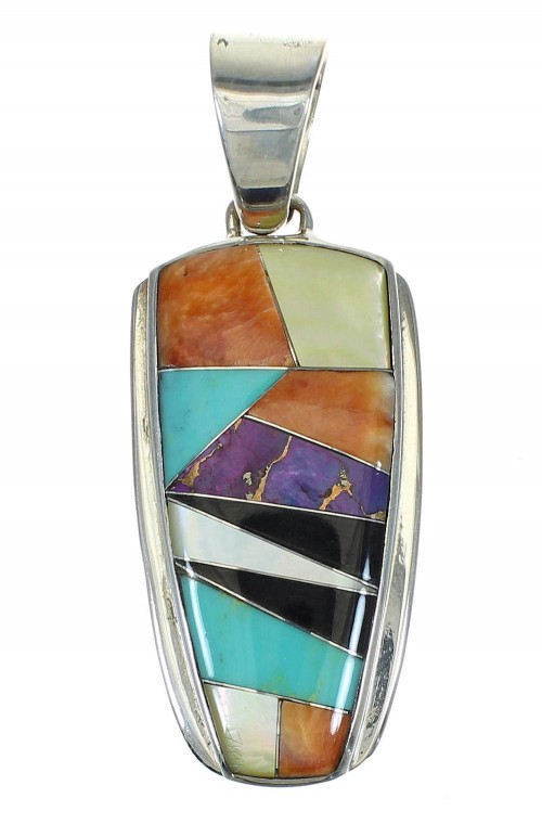 Multicolor Inlay And Authentic Sterling Silver Southwest Pendant YX67490