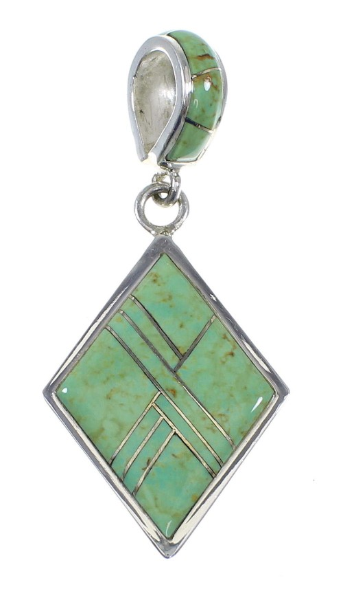 Genuine Sterling Silver Southwest Turquoise Pendant QX78915