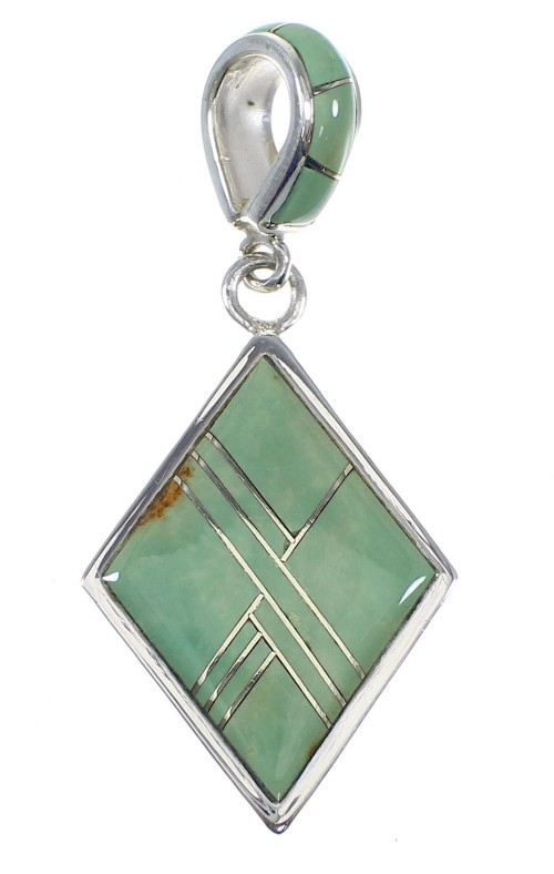 Genuine Sterling Silver Southwestern Turquoise Pendant QX78918