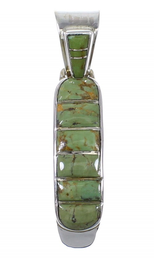 Turquoise Genuine Sterling Silver Southwestern Pendant QX78958