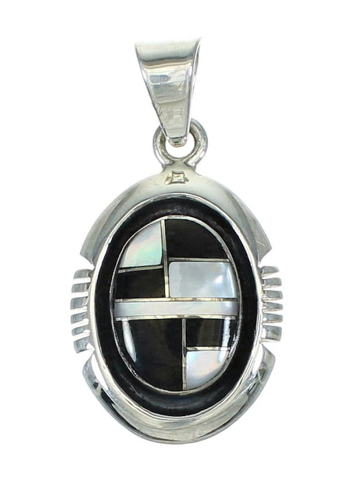 Southwest Sterling Silver Jet And Mother Of Pearl Pendant YX68229