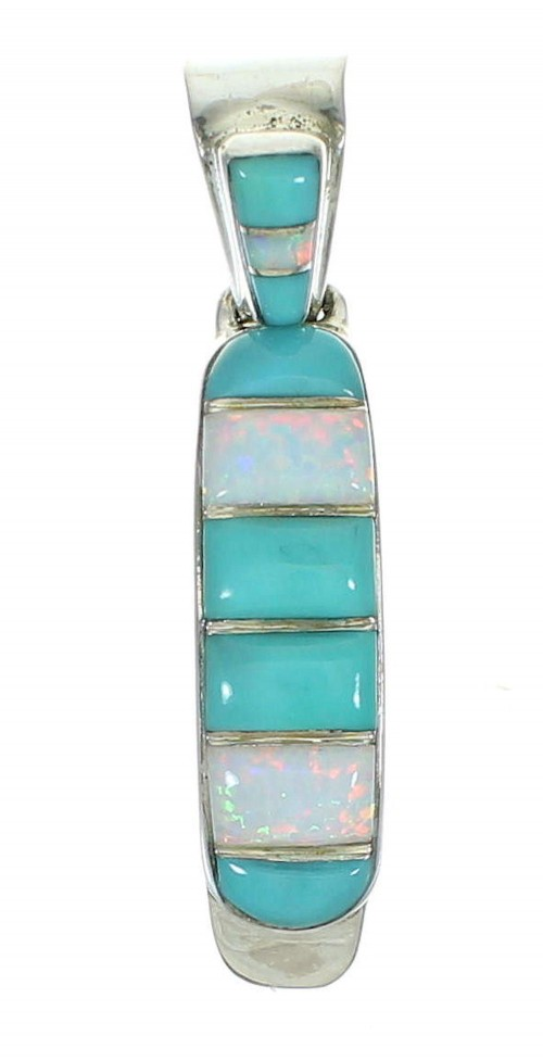 Southwest Genuine Sterling Silver Turquoise And Opal Pendant YX68245