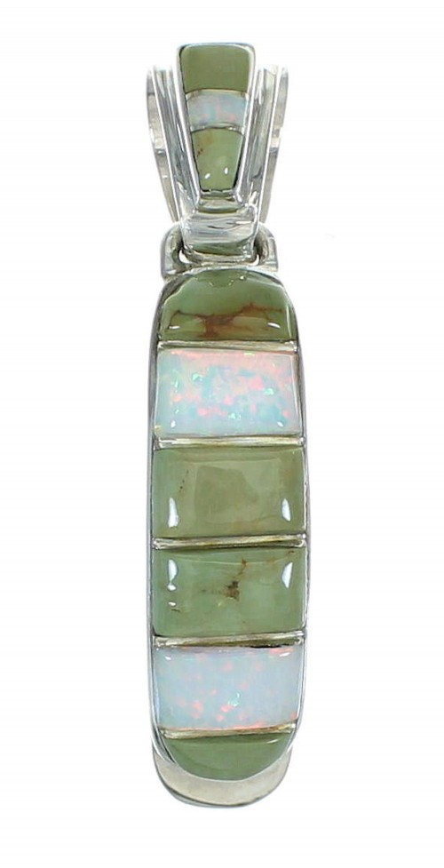 Southwestern Genuine Sterling Silver Turquoise And Opal Inlay Pendant YX68258