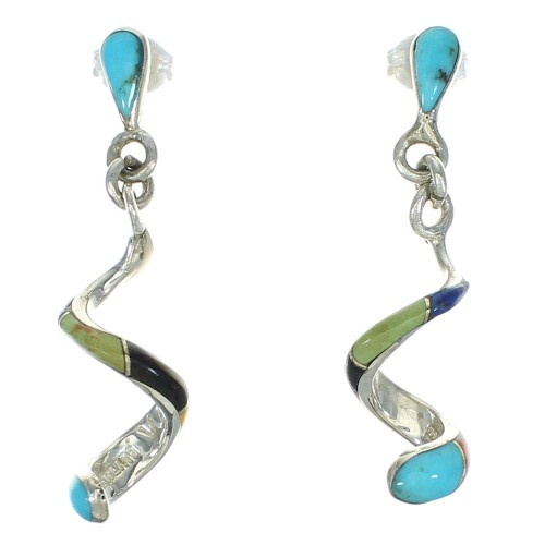 Silver Multicolor Inlay Southwest Post Dangle Earrings YX71369
