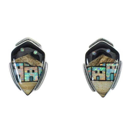 Native American Village Design Multicolor Silver Post Earrings YX71370