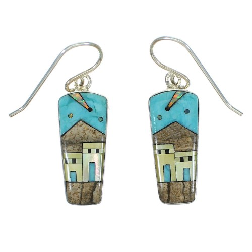 Native American Village Design Multicolor Silver Southwestern Hook Dangle Earrings YX71390