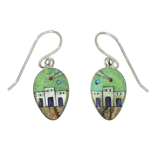 Native American Village Design Silver Multicolor Hook Dangle Earrings YX71416