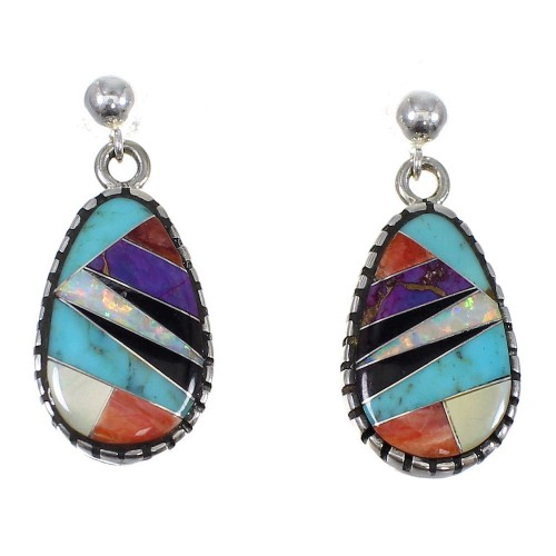 Multicolor Genuine Sterling Silver Post Dangle Earrings RX82059
