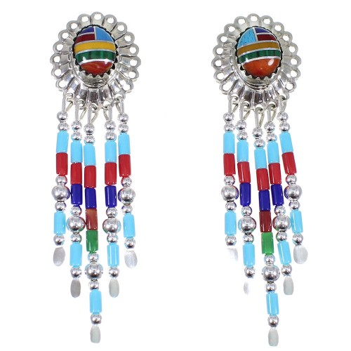 Multicolor Heishi Bead Silver Concho Post Earrings RX82087