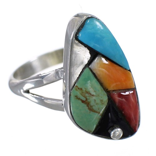 WhiteRock Multicolor Sterling Silver Ring Size 7-1/2 WX81855