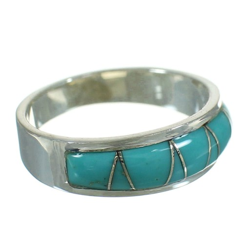Southwestern Turquoise And Sterling Silver Jewelry Ring Size 7-1/4 WX79865