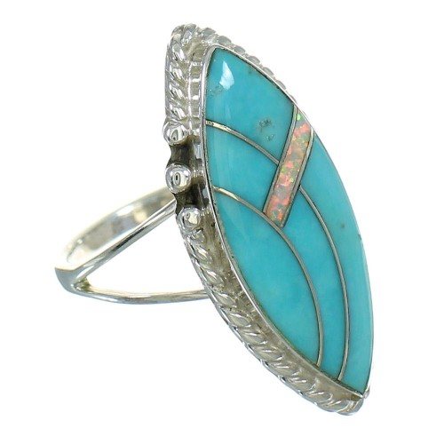 Turquoise And Opal Silver Southwest Ring Size 6-1/4 YX80391