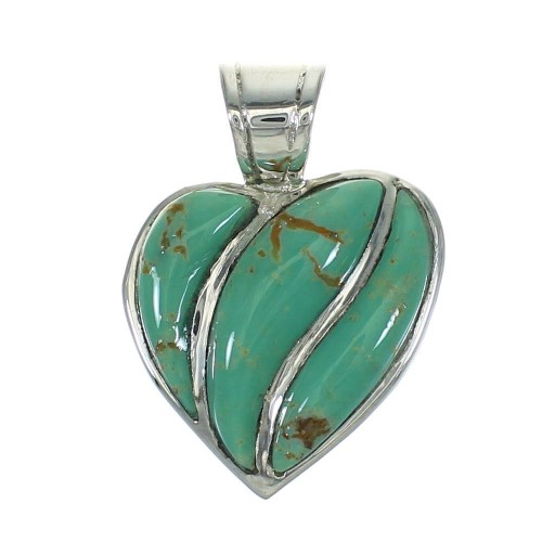 Turquoise Sterling Silver Southwest Heart Pendant RX66900