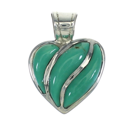 Genuine Sterling Silver Southwestern Turquoise Heart Pendant RX66902