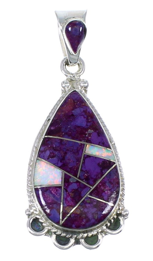 Authentic Sterling Silver Magenta Turquoise And Opal Southwest Pendant YX67635