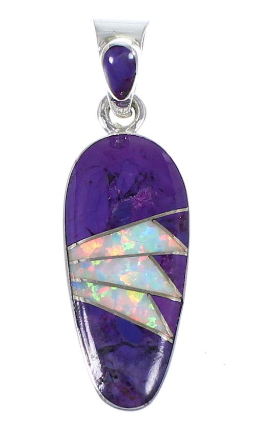 Magenta Turquoise Opal And Sterling Silver Southwest Pendant YX67649