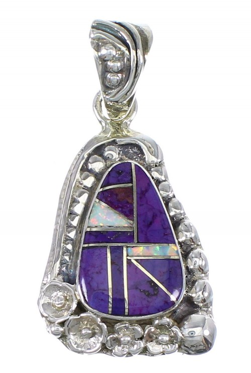 Flower Magenta Turquoise Opal And Genuine Sterling Silver Southwestern Pendant YX67658