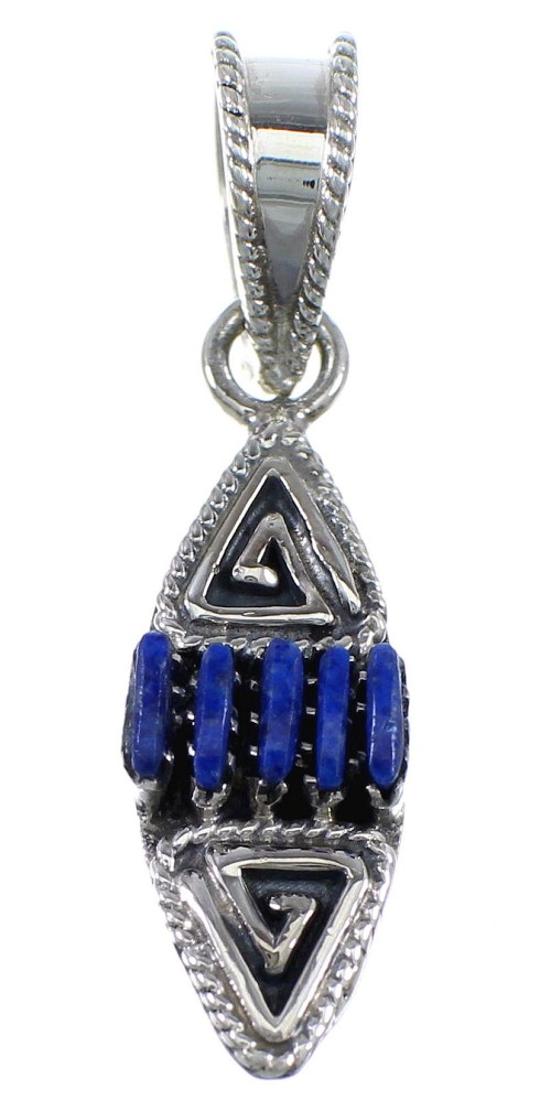 Sterling Silver And Lapis Needlepoint Water Wave Southwestern Pendant YX67291