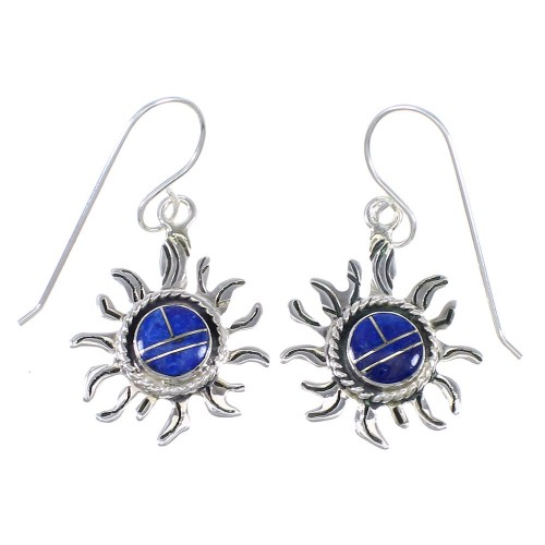 Lapis Sun Authentic Sterling Silver Hook Dangle Earrings RX71090