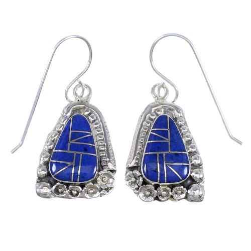Lapis Inlay Authentic Sterling Silver Hook Dangle Earrings RX71099