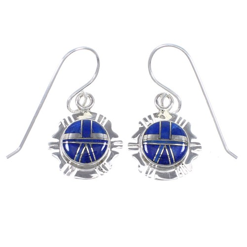 Authentic Sterling Silver Lapis Inlay Hook Dangle Earrings RX71116