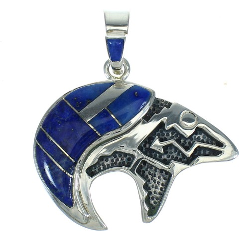 Sterling Silver And Lapis Southwest Bear Arrow Pendant YX67398