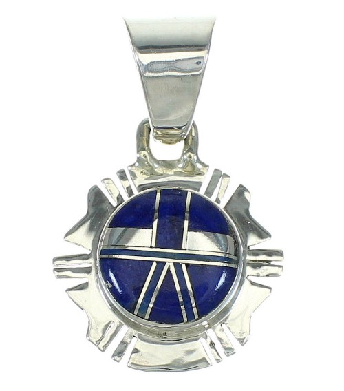 Lapis Inlay And Sterling Silver Southwest Pendant YX67429