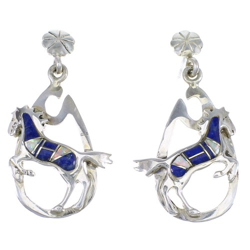Genuine Sterling Silver Lapis And Opal Horse Post Dangle Earrings YX67552