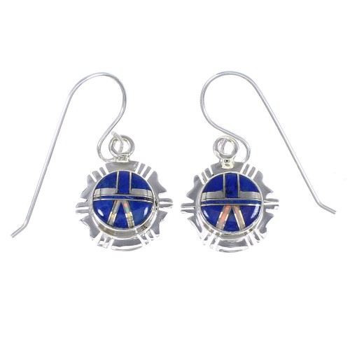 Genuine Sterling Silver Lapis And Opal Southwest Hook Dangle Earrings YX67610