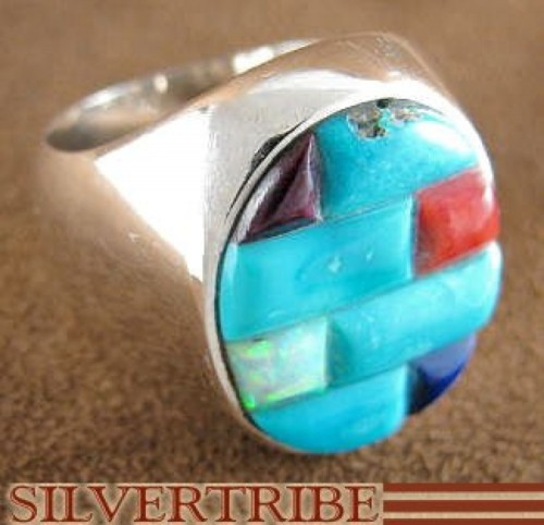 Sterling Silver Turquoise Multicolor Jewelry Ring Size 8-3/4 JS25837