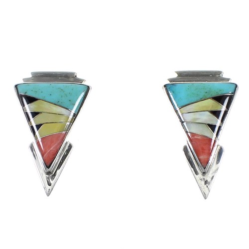 Multicolor Sterling Silver Southwest Post Earrings YX93977