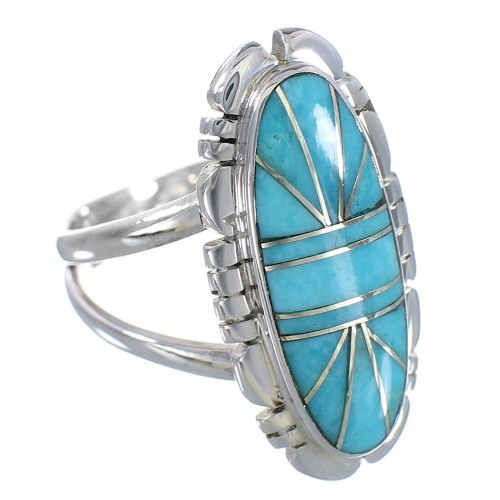 Southwestern Turquoise Inlay And Sterling Silver Ring Size 6-1/4 RX94175