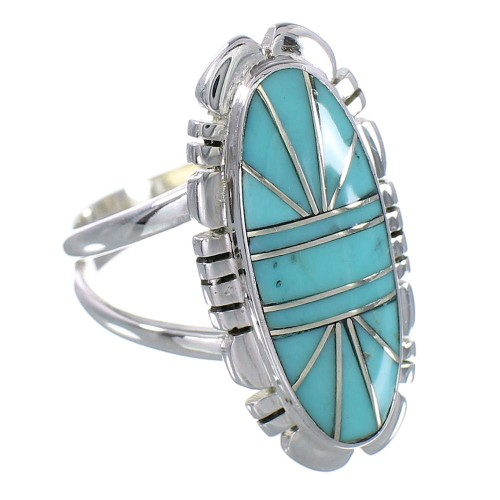 Turquoise Genuine Sterling Silver Southwest Ring Size 5-3/4 RX94185