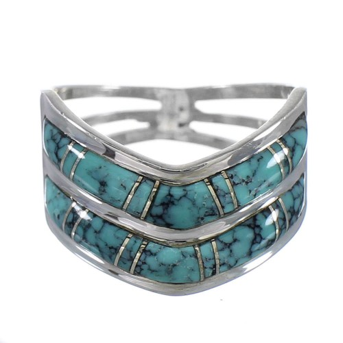 Authentic Sterling Silver And Turquoise Inlay Ring Size 4-1/2 RX94226