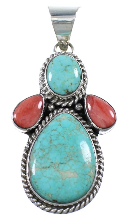 #8 Turquoise And Red Oyster Shell Sterling Silver Navajo Pendant AX94156