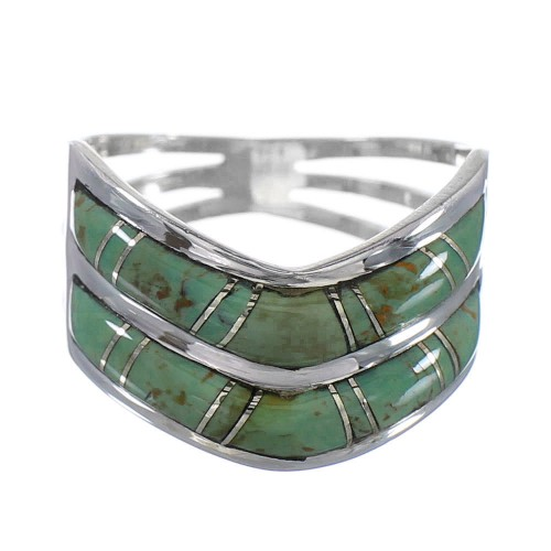 Silver Southwest Turquoise Inlay Ring Size 6 AX94334
