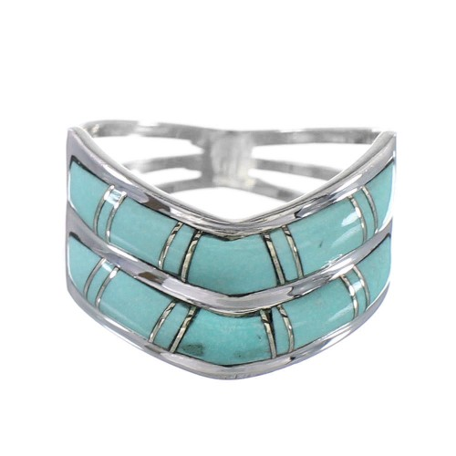 Southwestern Silver Jewelry Turquoise Inlay Ring Size 5 AX94337