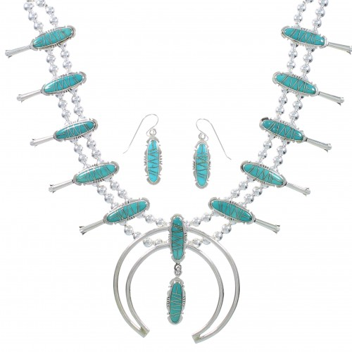 Turquoise Genuine Sterling Silver Southwest Squash Blossom Necklace Set AX94368