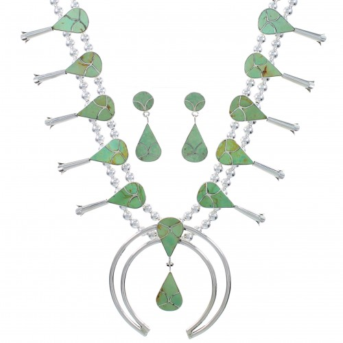 Turquoise Inlay Genuine Sterling Silver Southwest Squash Blossom Necklace Set AX94369
